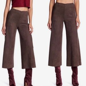 Anthropologie Level 99 faux suede wide leg crops